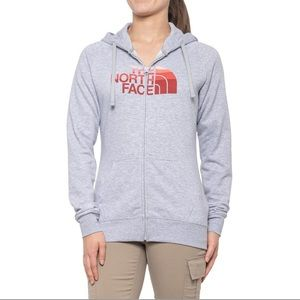 The North Face Light Grey-Coral Hoodie, XS